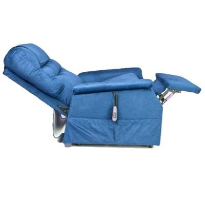 Side view of Elevated Blue Golden Tech Monarch 3-Position Lift Chair