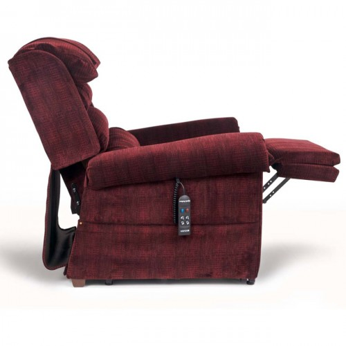 Side view of Red Golden Tech Relaxer Infinite Position Lift Chair with Extended Footrest