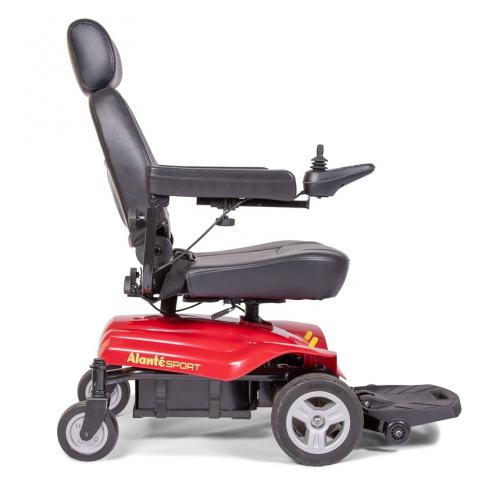Side view of Red Golden Technologies Atlante Sport Power Wheelchair