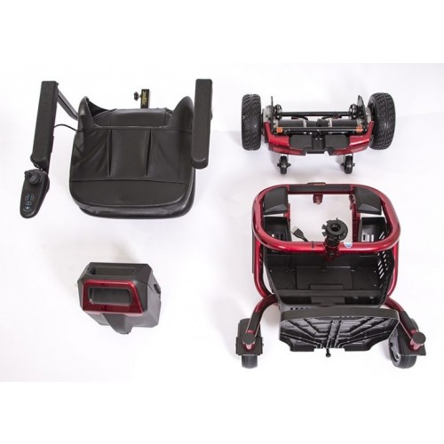 Disassembled parts of Golden Technologies LiteRider Envy PTC Travel Power Wheelchair
