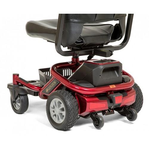 Back view of Red Golden Technologies LiteRider Envy PTC Travel Power Wheelchair