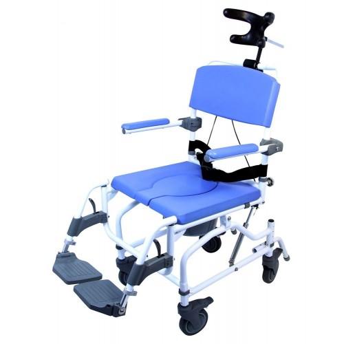 Blue Healthline Aluminum Tilt Shower Commode Chair