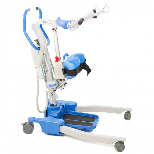 Side view of Blue Hoyer Journey 340 Electric Sit-To-Stand Lift