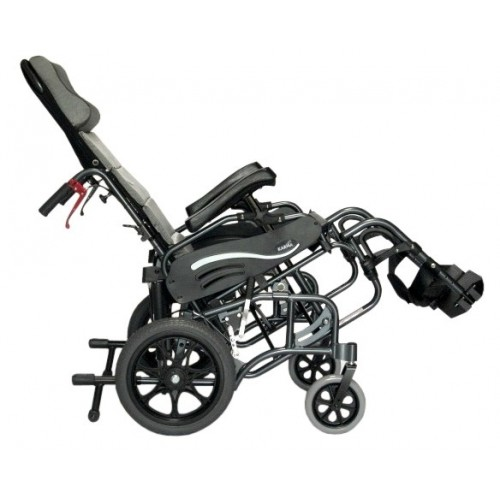 Side view of Reclined Karman VIP-515 Tilt In Space Transport Wheelchair