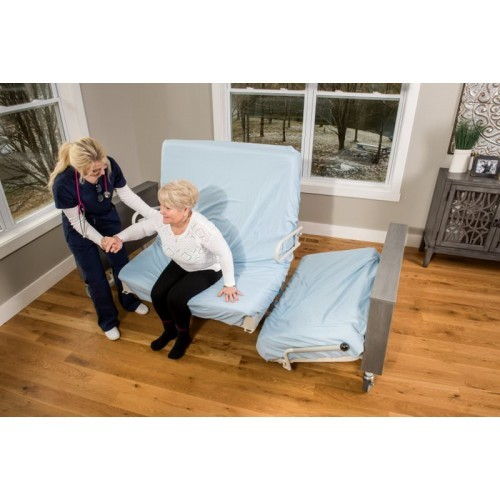 Woman getting up from Med Mizer Pivot Bed PR8000
