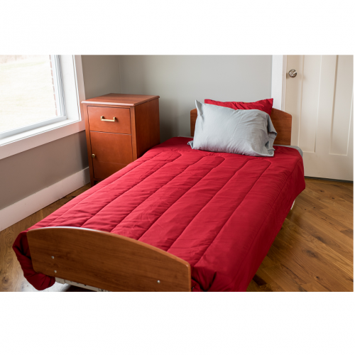 Med Mizer SS RetractaBed with Red Covers and Pillows