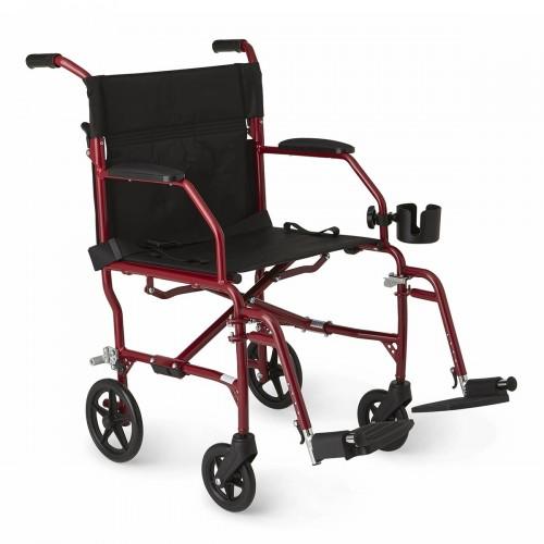 Red Medline Ultralight Transport Wheelchair