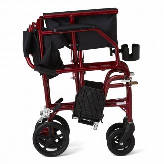 Folded Red Medline Ultralight Transport Wheelchair