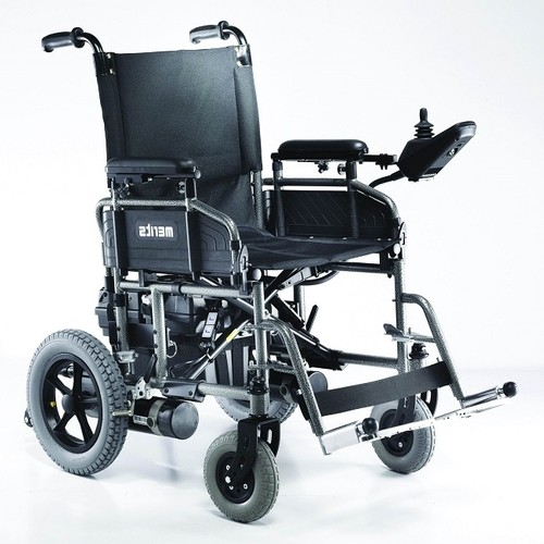 Front view of Black Merits Folding Power Wheelchair