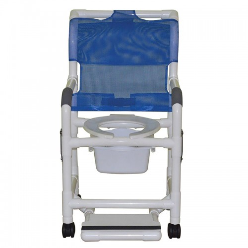Front view of Blue MJM International Shower Chair and Commode