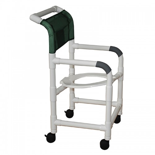 Side view of Green MJM International Shower Chair and Commode
