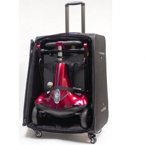Red Mobie Plus Folding Scooter in Suitcase