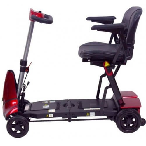 Side view of Red Mobie Plus Folding Scooter