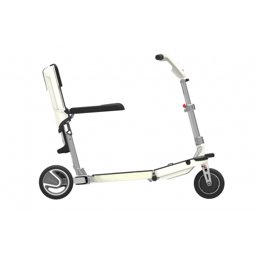 Side view of White Moving Life ATTO Folding Mobility Scooter