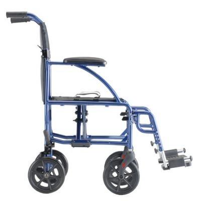 """Side view of Blue Nova 18"""" Ultra Lightweight Transport Wheelchair"""