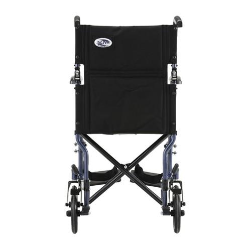 """Back view of Blue Nova 19"""" Lightweight Transport Chair"""