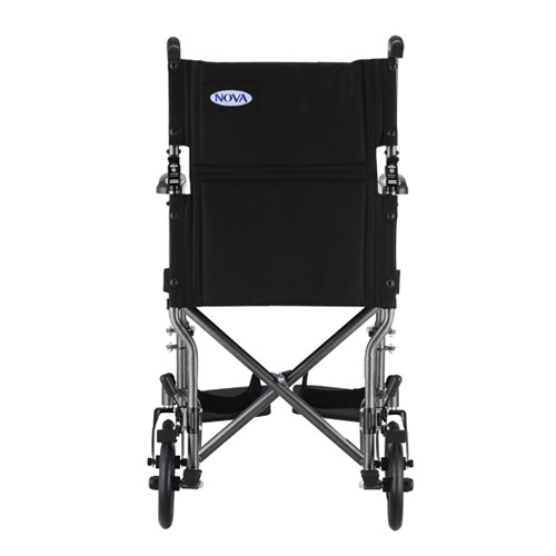 "Back view of Silver Nova 19"" Lightweight Transport Chair"