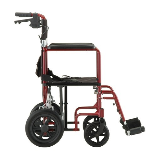 "Side view of Red Nova 19"" Transport Chair with 12"" Rear Wheels"