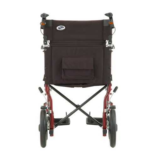 "Back view of Nova 19"" Transport Chair with 12"" Rear Wheels"