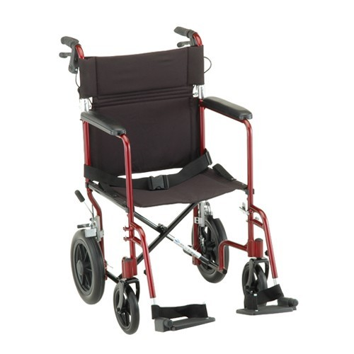 "Red Nova 19"" Transport Chair with 12"" Rear Wheels"