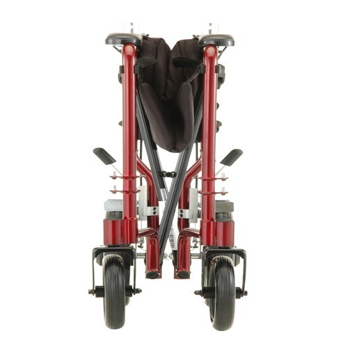 "Folded Red Nova 19"" Transport Chair with 12"" Rear Wheels"