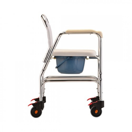 Side view of Nova Commode/Shower Chair with Wheels