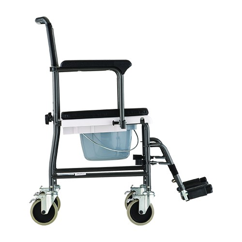 Side view of Nova Drop-Arm Transport Chair Commode