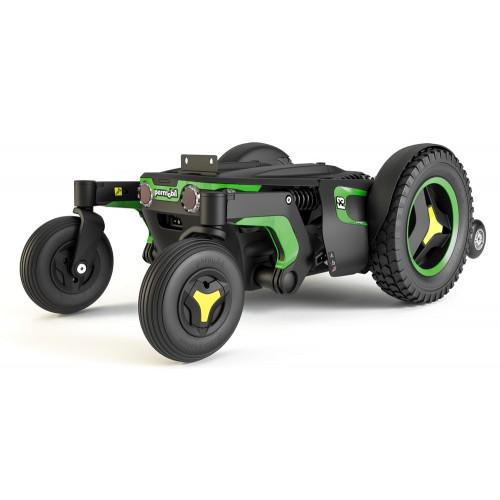 Green Folded Permobil F3 Corpus Front Wheel Power Wheelchair