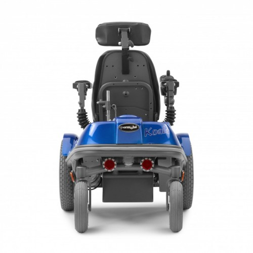 Back view of Blue Permobil Koala Mini-Flex Pediatric Power Wheelchair
