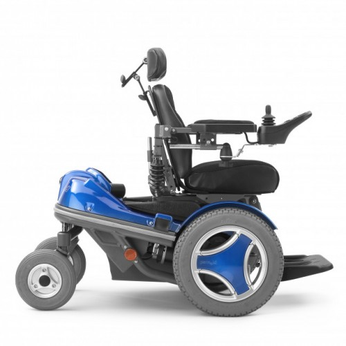 Side view of Blue Permobil Koala Mini-Flex Pediatric Power Wheelchair