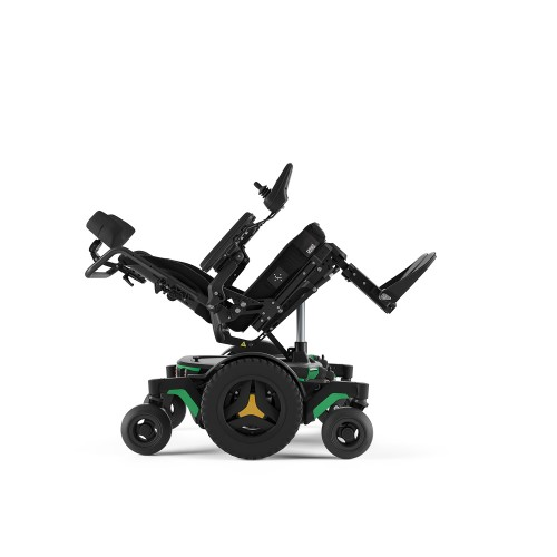 Side view of Reclined Permobil M1 Mid Wheel Power Wheelchair