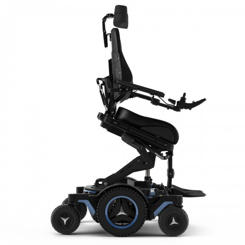 Side view of Tilted Permobil M5 Corpus Mid Wheel Power Wheelchair