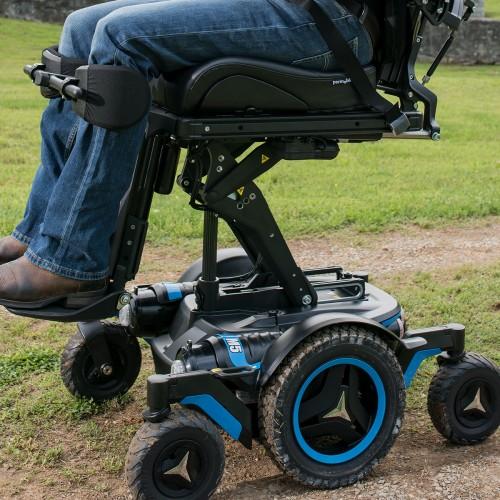 Wheels of Permobil M5 Corpus Mid Wheel Power Wheelchair at park