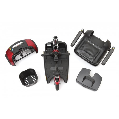 Disassembled Parts of 3 Wheel Travel Mobility Scooter Rental