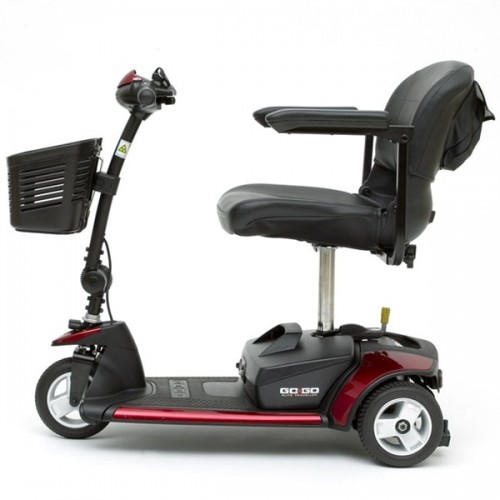 Side view of Red Pride Go-Go Elite Traveller 3-Wheel Mobility Scooter