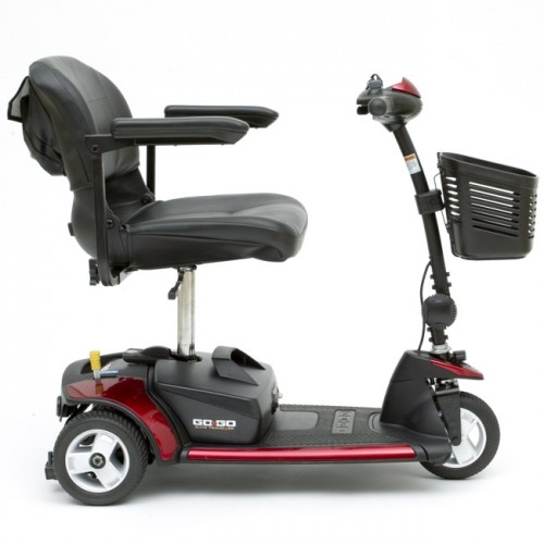 Side view of Pride Go-Go Elite Traveller 3-Wheel Mobility Scooter