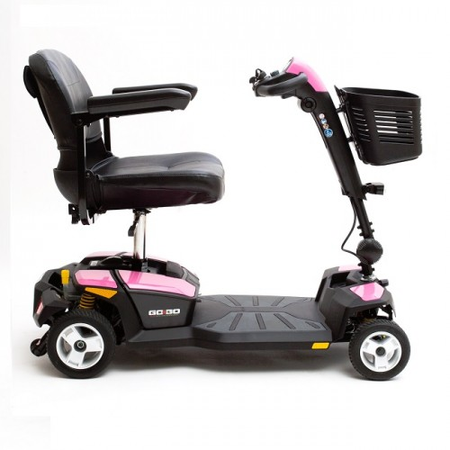 Side view of Pink Pride Go-Go LX 4-Wheel Mobility Scooter with CTS Suspension