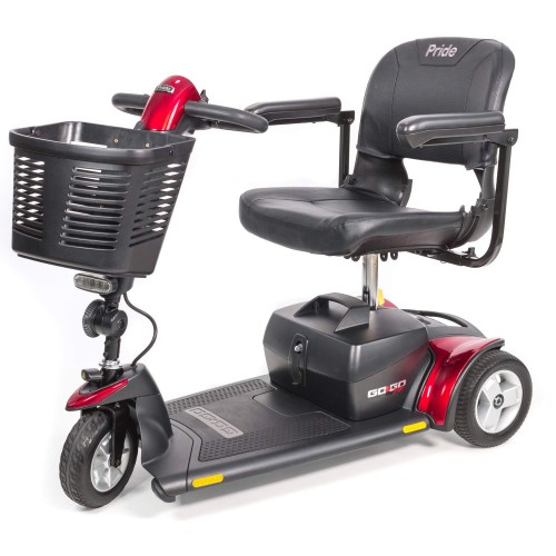 Side view of Red Pride Go-Go Sport 3-Wheel Mobility Scooter