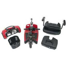 Disassembled parts of Pride Go-Go Ultra X 3-Wheel Mobility Scooter