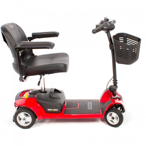 Side view of Red Pride Go-Go Ultra X 4-Wheel Mobility Scooter