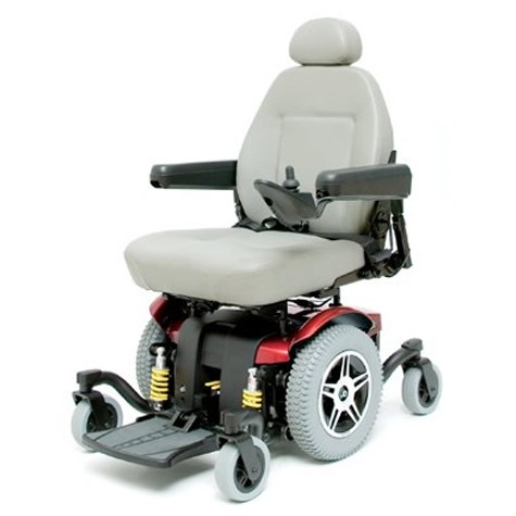 White Cushion and Red Pride Jazzy 614 HD Power Wheelchair