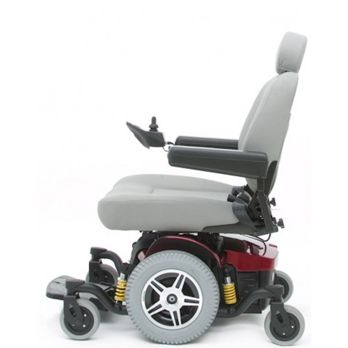 Side view of White Cushion Pride Jazzy 614 HD Power Wheelchair