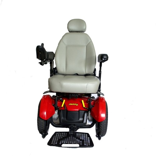 Front view of White Cushion and Red Pride Jazzy Elite 14 Power Wheelchair
