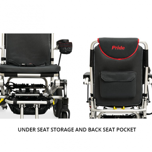 Under Seat Storage and Back Seat Pocket of Pride Jazzy Passport Folding Travel Power Wheelchair