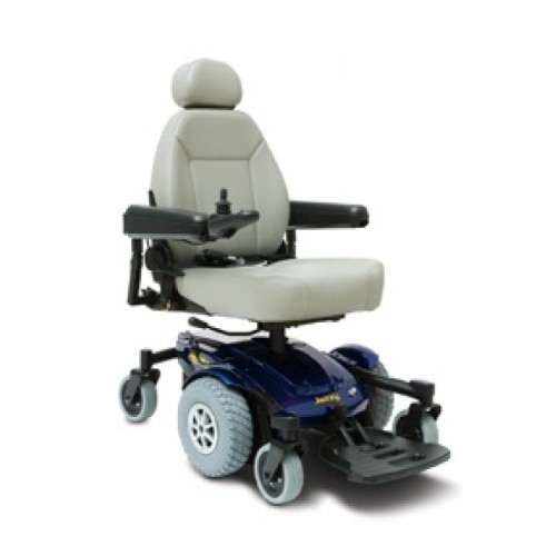 White Cushion and Blue Pride Jazzy Select 6 Power Wheelchair
