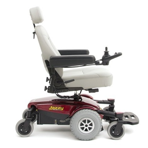 Side view of White Cushion and Red Pride Jazzy Select 6 Power Wheelchair