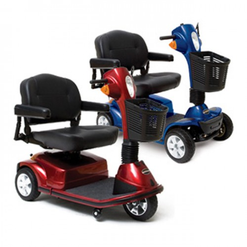 One Red and One Blue Pride Maxima 3 Wheel Mobility Scooter HD