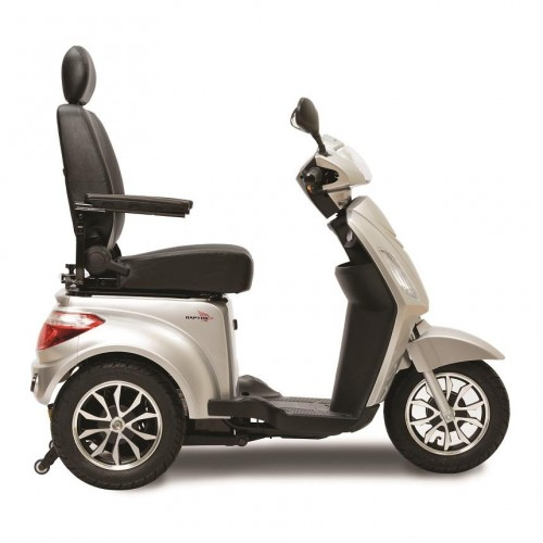 Side view of White Pride Raptor 3 Wheel Mobility Scooter