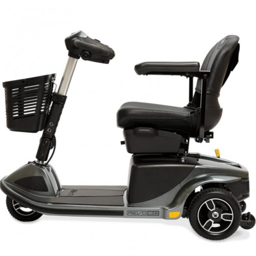 Side view of Black Pride Revo 2.0 3-Wheel Mobility Scooter