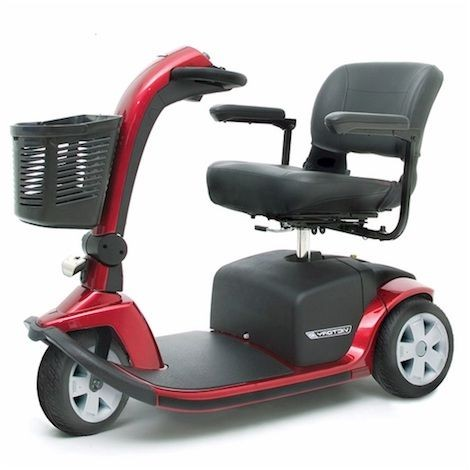 Side view of Red Pride Victory 9 3-Wheel Mobility Scooter